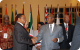 Presidents Jakaaya Kikwete and Yoweri Museveni chat at CHOGM retreat