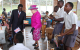 Kitante Primary School pupils performing for Queen Elizabeth II at their school