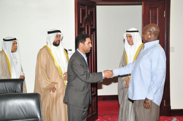 President Museveni receiving the Kuwait delegation led by their Speaker
