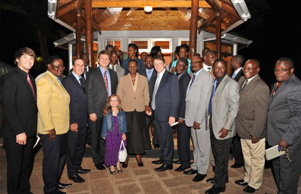 First Lady Museveni poses with Pastor Reinhard Bonnke and the team