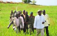 President Yoweri Museveni on inspection of the controversial land proposed