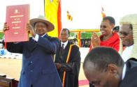 President Museveni receiving instruments of power after his swearing in.